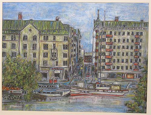 Taidemaalari Arja Krossbeck  maisema Tampereelta  maalaus Tampereen Laukont